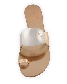 Designer Clothes, Shoes & Bags for Women Toe Ring Sandals, Toe Rings, Flat Sandals, Flat Shoes, Celebrity Shoes, Metallic Flats, Shoe Sites, Giuseppe Zanotti Shoes, Shoes Heels