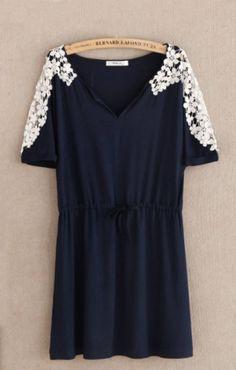Short Batwing Sleeves Hook Flowers Lace Dress