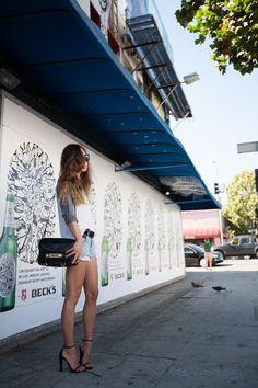 what makes sense in LA, denim shorts and Alexander Wang Fabiana heels
