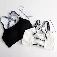 6d74a49c8c Femmes Sport Bra Fitness Top Lettres De Yoga Soutien-Gorge Pour Tasse A-D  Noir B