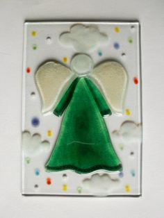 Glass fusion fused glass angel wall decor unique hand made