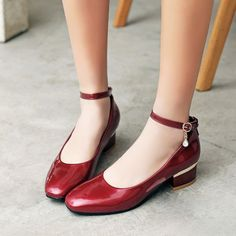 8ec44607f97 Patent Leather Court Party Pumps Womens Chunky Low Heels Ankle Strap Shoes  Comfy