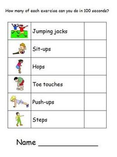 How many sit-ups can your students do in 100 seconds, Variation (remove heading): Kids can roll 2 dice, determine number (usually 2 choices, eg. 82 or and the group will do that many of the action. Let them decide some actions too! Physical Education Activities, Pe Activities, Fitness Activities, Health Education, Yoga For Kids, Exercise For Kids, Test For Kids, Elementary Pe, Pe Ideas