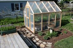 Plans to build an inexpensive greenhouse.