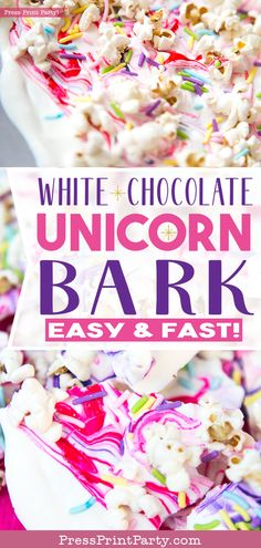 UNICORN BARK: How to make white chocolate unicorn bark. Easy and fast treat for your unicorn birthday party. Great recipe made with candy melts, popcorn & sprinkles. Kids will love it Birthday Desserts, Birthday Treats, Party Treats, Unicorn Themed Birthday Party, Mermaid Birthday, 5th Birthday, White Chocolate Bark, Rainbow Fruit, Unicorn Baby Shower