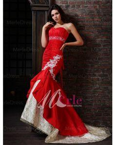 Taffeta Tulle Applique Beading Ruffles Sweetheart Sweep Train Mermaid Wedding Dress