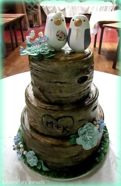 Three Tier Tree Stump Wedding Cake by Samantha's Sweets #treestumpcake  ~ Bird toppers by RedLightStudio