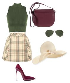 """""""Plaid Girl"""" by pjcamg07 ❤ liked on Polyvore featuring Delpozo, WearAll, Casadei, Eugenia Kim and Ray-Ban"""