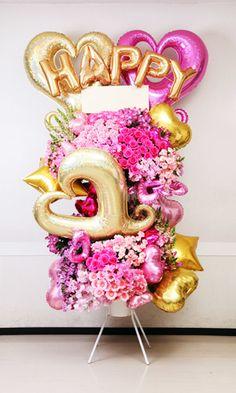 エキゾティカフロエア「ピンクでとにかくラブリーにして欲しい!」というオーダーに合わせたバルーンスタンドサンプル