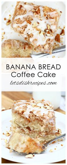 Banana Bread Coffee Cake Recipe: Banana bread and coffee cake come together in this delicious recipe, featuring a cinnamon infused crumb topping and a. - Best of Let's Dish Recipes - Kuchen Breakfast Buffet, Breakfast Cake, Brunch Cake, Breakfast Ideas, Banana Bread Recipes, Coffee Recipes, Banana Bread With Glaze, Ripe Banana Recipes Healthy, Banana Breakfast Recipes