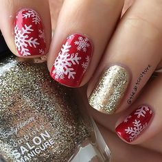 11. Purple Glitter and White Winter Pattern Glitter is perfect for Christmas. These next nails feature a purple glitter shade. There are also two accent nails with a cute winter pattern. You could recreate something similar or create something unique by adding your own shapes. Maybe even try a different glitter shade to. 12. Cute Gift Nail …