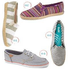 Since comfort is high on my list these days, I'm loving these new striped Keds perfect for summer strolls and running errands... — Joy {1. wide stripe jute slip-on, 2. jute multi stripe, 3. metallic linen stripe, 4. striped canvas...