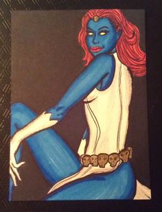 ACEO Original Sketch Art Card 1 1 Pin Up Girl Like Mystique Female Model Marvel   eBay