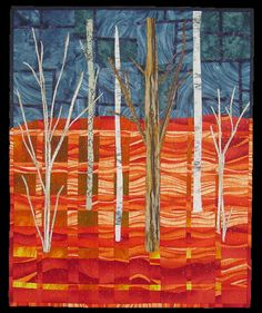 """Fire And Rain, 28 x 23"""", by Jodi Scaltreto. Inspired by the song Fire and Rain by James Taylor. The pieced background is a convergence quilt. The trees are fusible appliqued."""