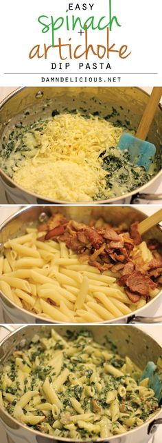 Spinach and Artichoke Dip Pasta - All the flavors of the cheesy, creamy dip in pasta form! Yum, this looks delicious! Pasta Recipes, Dinner Recipes, Cooking Recipes, Healthy Recipes, I Love Food, Good Food, Yummy Food, Great Recipes, Favorite Recipes
