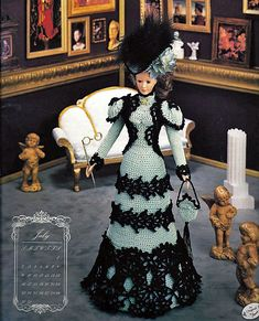 July Visiting Costume Annies Calendar Bed Doll Society Fashion Doll Crochet Pattern Annies Attic.