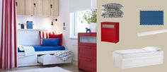BRIMNES white day-bed with drawers and red chest of drawers