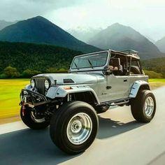 Jeep Lifted with tires, bumpers, roll bar, roof rack, wider fender flares Cj Jeep, Jeep Cj7, Jeep Wrangler Tj, Jeep Truck, Jeep Wrangler Unlimited, Jeep Rubicon, Dodge Trucks, Jurassic Park Jeep, Badass Jeep