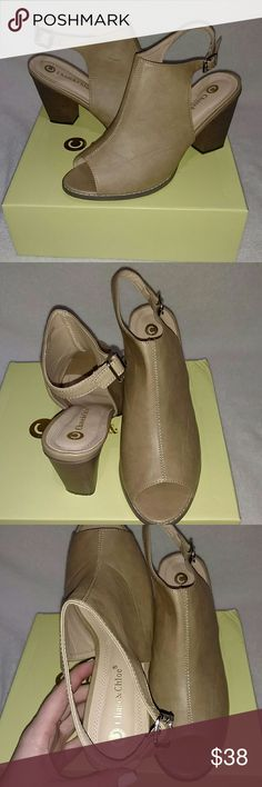 Tan Peep Toe Mules Super cute!! Worn once! Vegan leather, tan, peep toe mules. These would be great for Spring! Fits true to size. They have been stored in their box and in dust bags. Let me know if you have any questions! Chase & Chloe Shoes Mules & Clogs