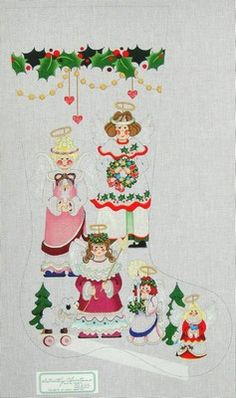 Pocket Full of Stitches:  A Full Service Needlepoint Store!  Five Angels with Lamb on Rollers  CS522