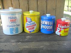 Vintage pillsbury flour domino sugar lipton by GarysAtticTreasure, $54.00 Sugar Canister, Canister Sets, Canisters, Maxwell House Coffee, Lipton, Pillsbury, Coffee Machine, Coffee Cans, Vintage Antiques