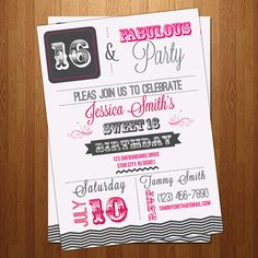 Sweet 16  30th 40th 50th  sixteenth Birthday party by ElleOL, $12.00