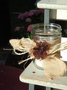 Mason Jar & Burlap candle holder