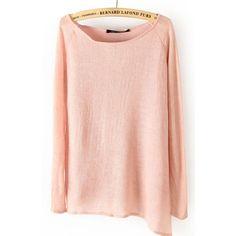 Pink Long Sleeve Asymmetrical Hem Pullover Sweater ($30) ❤ liked on Polyvore