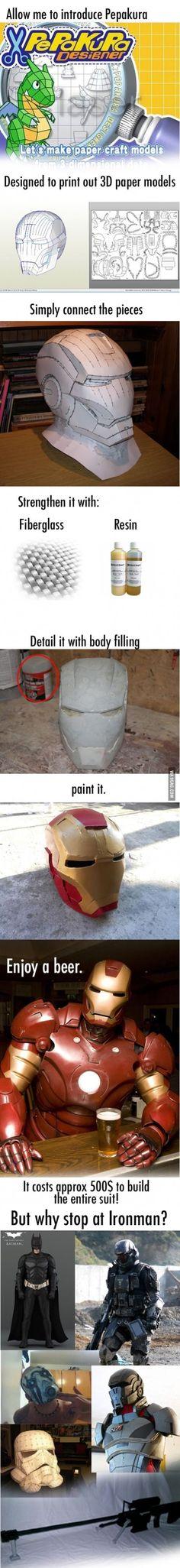 Un #papercraft de Iron Man tomaria siglos en armarlo