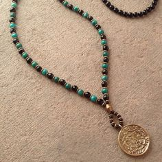 Want this one! Onyx and Turquoise beaded necklace with Tibetan pendant, 108 bead mala – Lovepray jewelry