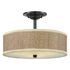 Semi flush mount with a rattan shade and steel base.   Product: Flush mountConstruction Material: Steel, glass an...