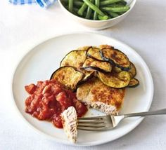 Breadcrumbed pork with grilled aubergine & spicy tomato sauce