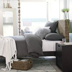Brown & grey Bedrooms - Brown grey bedroom - love how bright the windows make it!