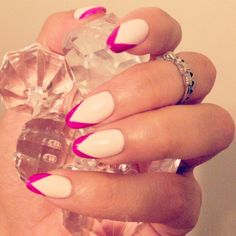 Summer Neutral nails with a little pop of color for fun #naturalnails #colortips #almonds #showjayourhands