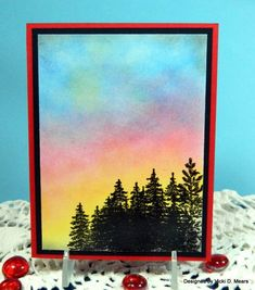 gorgeous sponged colors in the sky of this card...