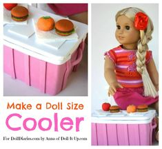 american girl doll crafts Are your dolls ready for a picnic? I have just the thing and it only takes three ingredients a box, foam, and glue! Craft up a doll size cooler! I wro American Girl Crafts, American Girl Clothes, American Girls, Ag Doll Crafts, Diy Doll, Crafts For Girls, Diy For Girls, Family Crafts, Ag Dolls