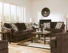 Moderní obývací pokoj v hnědé barvě inspirace