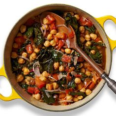 Chickpea-Chard Stew PER SERVING: 237 cal., 8 g total fat (1 g sat. fat), 35 g carb. (6 g fiber), 7 g pro
