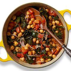 Chickpea-Chard Stew PER SERVING: 237 cal., 8 g total fat (1 g sat. fat), 35 g carb. (6 g fiber), 7 g pro