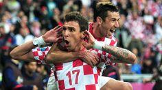 Mario Mandžukić celebrates his third goal of Euro 2012 as Croatia tie Italy. #Euro2012 #Mandzukic