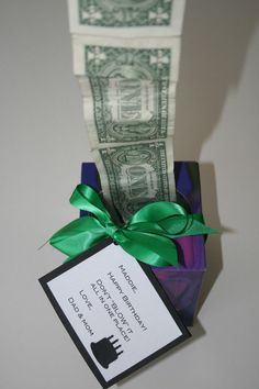 "I LOVE this idea!  All you need is an empty Kleenex box. Oh and cash. Dollar bills. Tape the dollar bills together end to end with Scotch tape.  Obviously the more dollar bills the greater the ""WOW"". Stuff them in the Kleenex box with just one dollar sticking out of the box. It's fun to watch someone's eyes grow wider as they pull out the dollars that go on and on.   Make a tag that says: ""Don't ""blow"" it all in one place. The End. Happy Birthday."