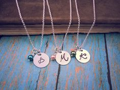Fancy Initial Necklace With Your Choice of Pearl by TheFearlessBeader!  I have 9 different pearl colors to choose from! :)