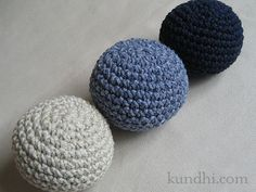 balls of crocheted yarn