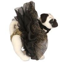 Designer pug for UNICEF Charity.  Worth Couture    The dramatic tutu-esque skirt and gold brocade are a Worth Couture signature.