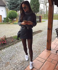 - ̗̀ ➳ belt over skirt and pullover Model Outfits, Hot Outfits, Winter Outfits, Summer Outfits, Casual Outfits, Fashion Wear, Fashion Outfits, Denim Skirt Outfits, Elegant Outfit