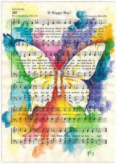 Butterfly on Inspirational Hymn O Happy Day Fine Art Print from Watercolor Kit Sunderland Butterfly on Inspirational Hymn O Happy Day Watercolor Reproduction Print Kit Sunderland Watercolor Kit, Butterfly Watercolor, Butterfly Art, Butterflies, Tree Watercolour, Watercolor Paintings, Kunstjournal Inspiration, Art Journal Inspiration, Bible Art