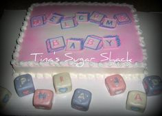 """Pink Baby Blocks Cake - sheet cake iced in buttercream for a shower with a baby blocks motif The little blocks spelled out the baby's name """"Sophia Jade"""" and were made with rkt and covered in mmf Baby Shower Sheet Cakes, Baby Shower Cake Designs, Baby Shower Themes, Shower Ideas, Cake Cookies, Cupcake Cakes, Baby Cakes, Baby Blocks, Baby Shower Centerpieces"""