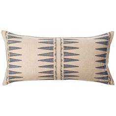 """Inspired by a Lakota garment that had used quills in the adornment and patterning. Pillow has a 90% small feather, 10% down insert. Embroidered cover on 100% linen fabric. Back fabric is 100% linen. Measures 16"""" x 32"""". Custom sizes available to fit any pillow insert. Lead time is approximately 2-3 weeks. Please contact weborders@coralandtusk.comor call us at 718-388-4188 for available options and price quotes. Please see our detailedcareinstructionsin ourFAQs."""