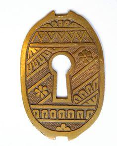 75mm Antique Black ESCUTCHEON Lock Key Hole Cover Protection Fleur De Lys Style