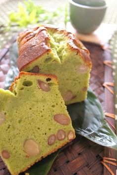 Matcha Green Tea Cake with Beans